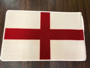 NEW ST GEORGE FLAG DESIGN NON SLIP DOORMAT 50X80CM WHITE RED GREAT QUALITY RUG